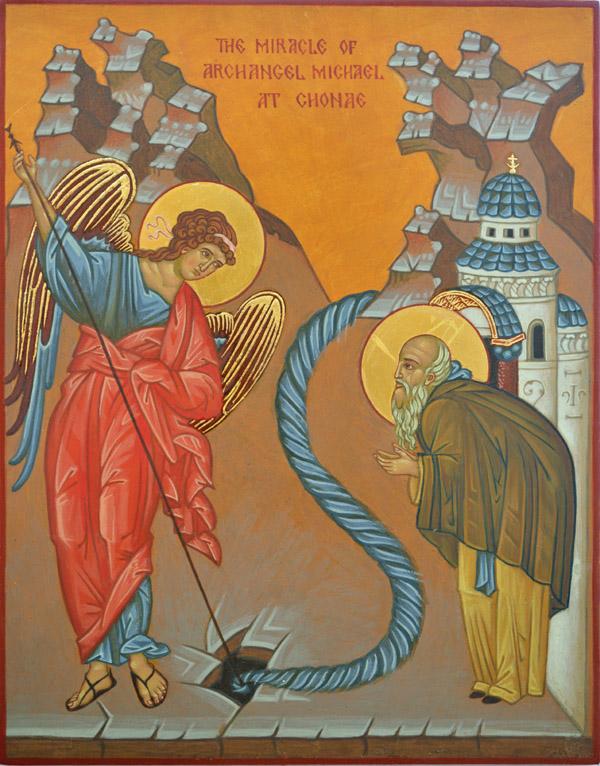 Miracle-of-St-Michael-at-Chonae-Icon-Yvonne-Hajdu-Cronin