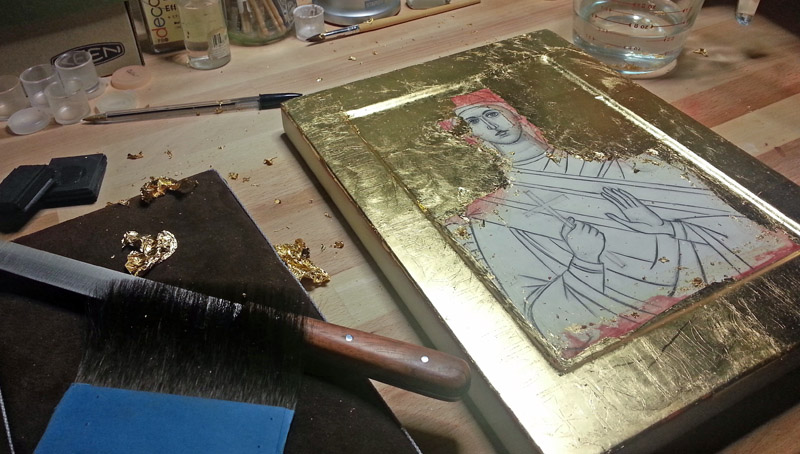 water-gilding-an-icon